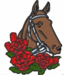 embroidered horse head with red roses